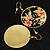 Japanese Style Floral Disk Earrings (Gold&Black) - view 7