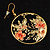 Japanese Style Floral Disk Earrings (Gold&Black) - view 8