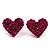 Deep Pink Swarovski Crystal Heart Stud Earrings - view 2