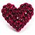 Deep Pink Swarovski Crystal Heart Stud Earrings - view 4
