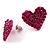 Deep Pink Swarovski Crystal Heart Stud Earrings - view 6