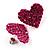 Deep Pink Swarovski Crystal Heart Stud Earrings - view 8