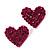 Deep Pink Swarovski Crystal Heart Stud Earrings