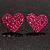 Deep Pink Swarovski Crystal Heart Stud Earrings - view 3