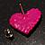 Deep Pink Swarovski Crystal Heart Stud Earrings - view 5