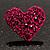 Deep Pink Swarovski Crystal Heart Stud Earrings - view 7