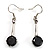 Jet Black Round Cut CZ Drop Earrings (Silver Tone)