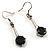 Jet Black Round Cut CZ Drop Earrings (Silver Tone) - view 2