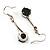 Jet Black Round Cut CZ Drop Earrings (Silver Tone) - view 5