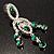 Stunning Emerald Green Swarovski Crystal Chandelier Earrings (Silver Tone) - view 4