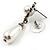 Bridal Simulated Pearl Drop Earrings (Silver Tone) - view 5
