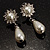 Bridal Simulated Pearl Drop Earrings (Silver Tone) - view 8