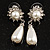 Bridal Simulated Pearl Drop Earrings (Silver Tone) - view 7