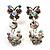 Clear Crystal Butterfly Drop Earrings (Silver Tone)