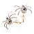 Tiny White Crystal Spider Stud Earrings