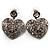 Silver Tone Filigree Crystal Heart Drop Earrings