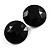 Black Round Faceted Acrylic Stud Earrings - 3cm Diameter