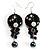 Boho Style Floral Bead Drop Earrings (Silver&Black)