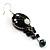 Boho Style Floral Bead Drop Earrings (Silver&Black) - view 2