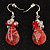 Exquisite Pink Bead Wire Drop Earrings (Silver Tone) - view 3