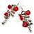 Long Red Glass Bead Drop Earrings (Silver Tone)