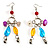 Long Multicoloured Semiprecious Bead Dangle Earrings (Silver Tone)
