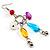 Long Multicoloured Semiprecious Bead Dangle Earrings (Silver Tone) - view 2