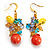 Multicoloured Bead Drop Earrings (Gold Tone)