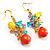 Multicoloured Bead Drop Earrings (Gold Tone) - view 2