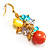 Multicoloured Bead Drop Earrings (Gold Tone) - view 3