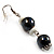 Black & White Bead Drop Earrings (Silver Tone) - view 2