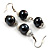 Black & White Bead Drop Earrings (Silver Tone) - view 3