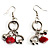 Silver Tone Charm Drop Earrings (Red)