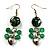 Green Glass Bead Drop Earrings (Silver Tone)