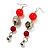 Carrot Red Acrylic Drop Earrings (Silver Tone) - view 2
