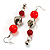 Carrot Red Acrylic Drop Earrings (Silver Tone) - view 3