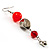 Carrot Red Acrylic Drop Earrings (Silver Tone) - view 4