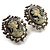 Classic Cameo CZ Clip-On Earrings (Silver Plated) - view 2