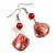 Coral Red Shell Bead Drop Earrings (Silver Tone) - view 3