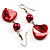 Coral Red Shell Bead Drop Earrings (Silver Tone) - view 6