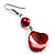 Coral Red Shell Bead Drop Earrings (Silver Tone) - view 7