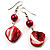 Coral Red Shell Bead Drop Earrings (Silver Tone) - view 9