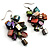 Multicoloured Shell Composite Cluster Dangle Earrings (Silver Tone) - view 2