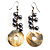 Mother of Pearl Bead Drop Earrings (Silver Tone)