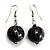 Black & Metallic Silver Wood Drop Earrings (Silver Tone) - view 2