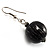 Black & Metallic Silver Wood Drop Earrings (Silver Tone) - view 4