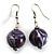 Purple & Metallic Silver Wood Drop Earrings (Silver Tone)