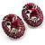 Oval Diamante Rose Stud Earrings (Silver Tone)