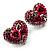 Heart Diamante Rose Stud Earrings (Silver Tone)