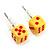 Tiny Yellow Plastic Dice Stud Earrings (Silver Tone) -5mm Diameter